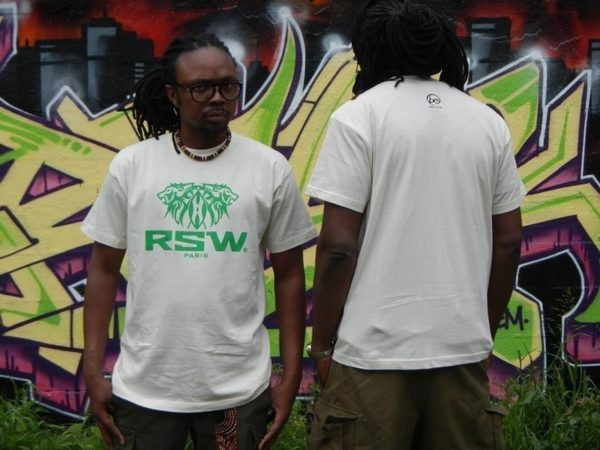 Tee shirt écru co-branding RSW (illustration logo RSW en vert) et Best Ethic